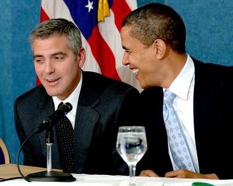 George Clooney and Senator Barack Obama