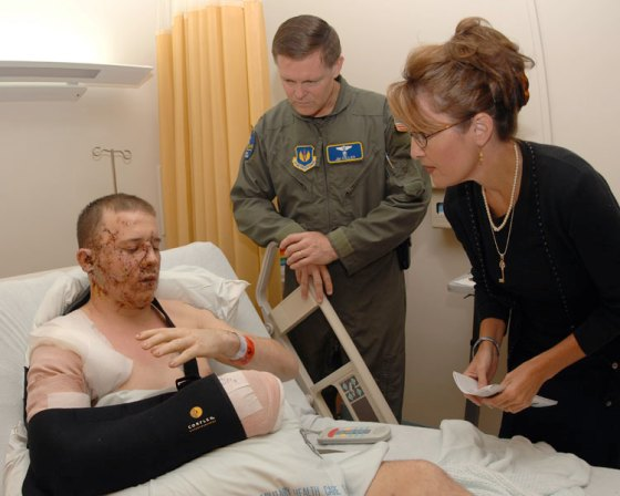 Governor Palin Visiting Wounded American Troops - Obama Snubbed American Troops In Germany - He Always Has An Excuse For Zero Patriotism.