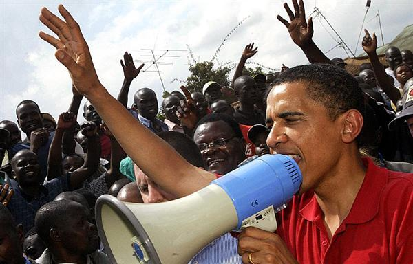 Obama campaigning for his muslim cousin Odinga in Kenya. Obama pretentiously absconded funds from the U.S. while he was an Illinois senator in 2006 to fly to Kenya. Christians were slaughtered after his muslim cousin lost.