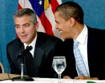 George Clooney and Senator Barack Obama
