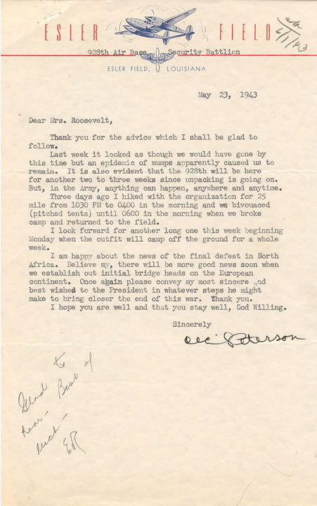 Letter From Cecil Peterson Tuskegee Airman to Eleanor Roosevelt