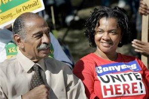 Conyers Pick And Choosing To Provide African Reparations - While Ignoring The 360,000 European Americans Who Gave Their Lives To Free The Slaves. Conyers with wife who was caught in Chicago committing theft and taking bribes.