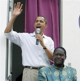 While Employed As A Senator In New Jersey - Obama Went To Kenya To Campaign For His Islamic Fascist Cousin Odinga In Order To Over Throw The U.S. Baked Kenyan Government. Odinga Lost and Retaliated By Committing Genocide With His Thugs.