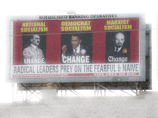 **RETRANSMITTING TO CORRECT SPELLING TO ADOLF NOT ADOLPH** A billboard ordered and paid for by the North Iowa Tea Party shows President Barack Obama, Adolf Hitler, left and Vladimir Lenin, on South Federal Avenue in Mason City, Iowa, July 12, 2010. (AP Photo/Globe Gazette, Deb Nicklay)