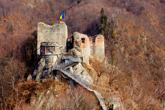 What Remains Of Poenari Castle in Romania also known to have belonged to Vlad Tepes for part of its history.