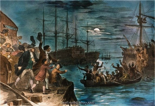 Retaliating Against Rothschild's High Taxation Scheme. Destroying Tea From Rothschild's India In Boston Harbor