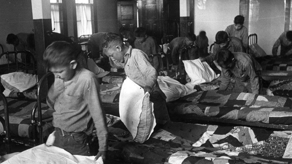 Indigenous children at a residential school in 1950