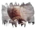 VIKING SHIP AT SEA PVC color center F2