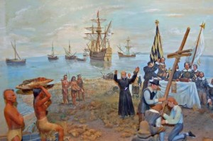 A diorama of Father Andrew White celebrating mass on the first Maryland Day, March 25, 1634.