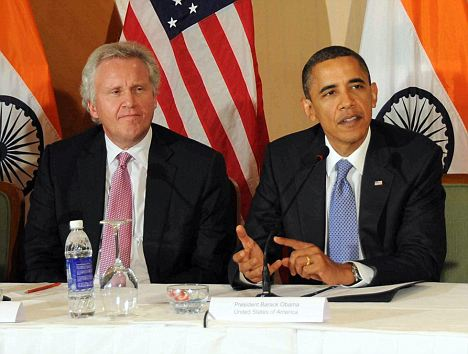"U.S. Putative President Barack Obama (2-R) seated with, General Electric's Jeffrey Immelt, & Boeing's Christopher Chadwick, holds a round table discussion with CEOs. Immelt is now on Obama's Advisory Board ~ Can Anyone Say, ""fascism""?"
