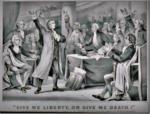 """""""Give me liberty, or give me death!"""" Patrick Henry delivering his great speech on the rights of the colonies, before the Virginia Assembly, convened at Richmond, March 23rd 1775, concluding with the above sentiment, which became the war cry of the American Revolution by Currier & Ives."""