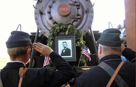 """STRASBURG, PENNSYLVANIA: In a reenactment, six day after President Lincoln's Rothschild assassination, a train is decorated and Christened """"The Lincoln Special"""" The train will go 1700 miles from Washington to New York to Chicago to Springfield so that mourners can pay their respect.  (Photo Credit © Wilfried Hauke / Vidicom Media)"""
