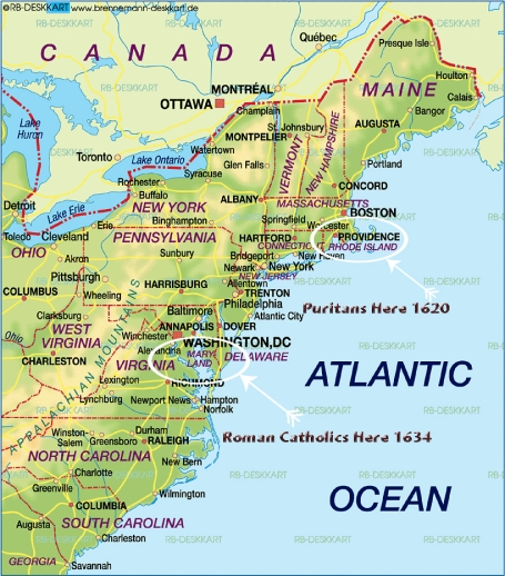 The Anti-Catholic Puritans Landed In Massachusetts While The Roman Catholics Landed In Maryland And Who Established The United States Of America Based Upon Religious Liberty.