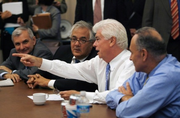 Banker's Stooges meet to discuss the economic bailout plan in the Capitol in Washington September 25, 2008. (L-R) Senator Jack Reed (D-RI), House Financial Services Committee Chairman Barney Frank (D-MA), Senate Banking Committee Chairman Chris Dodd (D-CT) and Senator Chuck Schumer (D-NY) - Who Just Got Dumped Out Of Another Term.