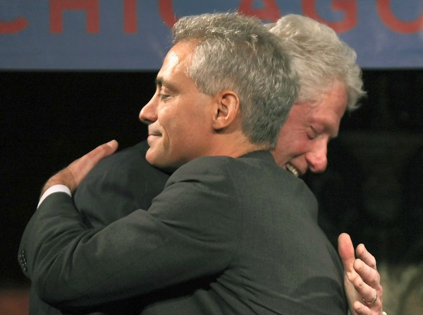 Chicago mayoral candidate Rahm Emanuel, left, and former U.S. President Bill Clinton, embrace after Emanuel introduced Clinton Tuesday, January 18, 2011 during a campaign rally at the Chicago Cultural Center. (Chris Walker/Chicago Tribune) -met-mayor-race-rahm-clinton  B581000688z.1....OUTSIDE TRIBUNE CO.- NO MAGS,  NO SALES, NO INTERNET, NO TV, NEW YORK TIMES OUT, CHICAGO OUT, NO DIGITAL MANIPULATION...