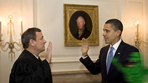WASHINGTON - JANUARY 21:  Chief Justice (sic) John G. Roberts Jr. administers the oath of office to President Barack Obama a second time in the Map Room of the White House Without The Holy Bible On January 21, 2009 in Washington, DC. Today was the putative president's first full day in office.  (Photo by Pete Souza/The White House via Getty Images) *** Local Caption *** Barack Obama;John G. Roberts Jr.