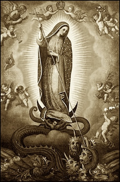 Our Lady of Guadalupe Virgin Mary Steps on Serpent Devil Satan Head
