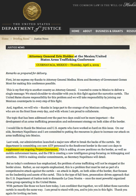 ERIC HOLDER KNEW IN 2009 THAT THE SOROS/MEXICAN DRUG CARTEL WAS BEING ARMED BY HIS OFFICE!