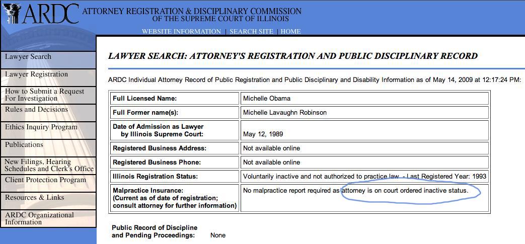Michelle obama law license