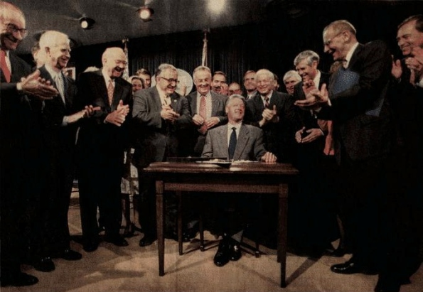 Bill Clinton Repeals The Glass Steagall Act in 1999 allowing Banks to invest depositor's hard earned cash in high creating bubbles and then allowing 'Paper Derivatives' To Hollow Out America To Smash The Bubble Thus Gutting Real Value With The Worthless Printed Paper Fraud In The $Trillions.