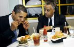 Sen. Obama visits Sylvias Rest. in Harlem wth Rev.Al Sharpton. eating and talking in back room.