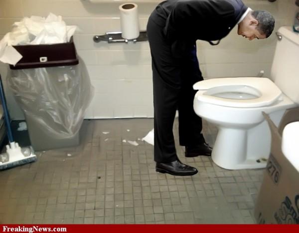U.S. Constitution Closing In On Barack Obama: Barry Soetoro's Identity Fraud. Barack-obama-bowing-in-bathroom-64711