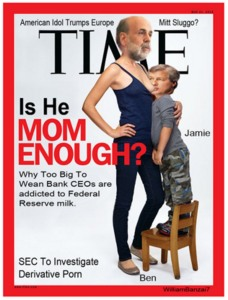 Ben Bernanke suckling Jamie Dimon with fake Fed milk