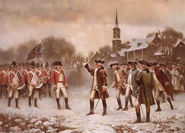 U.S. Minute Men Turning Back British Banking Forces.