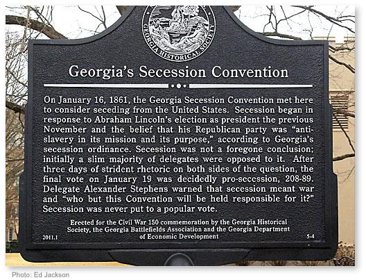 Georgia Secession Convention Marker