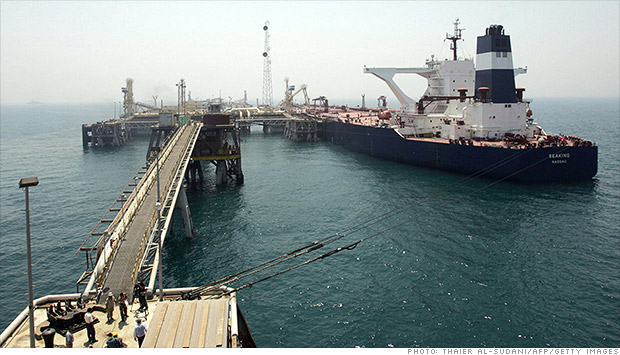 A ship is connected to the Basra Oil Terminal twelve nautical miles off the Iraqi coast in the waters of the Northern Persian Gulf close to the port town of Umm Qasr.