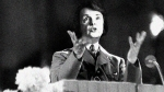 Frau Feinstein gesticulates from a podium during a speech, U.S.. (Photo by PVC)