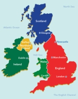 England = Just England + Wales (Scotland not included).  Great Britain = England, Wales + now Scotland; all together 3 countries.  U.K. = England + Wales + Scotland + Northern Ireland, all together, 4 countries