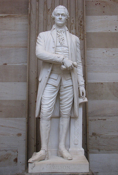 Photograph of statue of Alexander Hamilton in the rotunda of the United States Capitol.