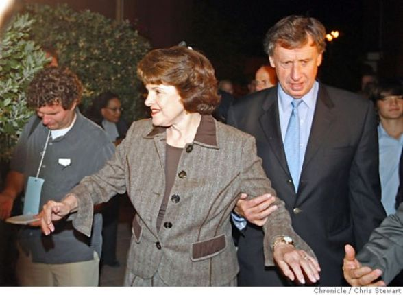 Dianne Feinstein and her husband Richard Blum arrive. Leading Democrats, including Dianne Feinstein, Jerry Brown, Barbara Boxer and Bill Lockyer attend a Democratic Party election night rally at Delancey St. Restaurant, Town Hall Rm., 600 Embarcadero, San Francisco. Chris Stewart / The Chronicle Photo: Chris Stewart / SFRead more: http://www.sfgate.com/news/article/Pelosi-makes-history-as-Democrats-take-control-of-2484421.php#ixzz2HLvt8q43