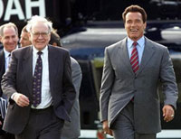 "Warren ""Eddy"" Buffet & Arnold Schwarzenegger Arrive At Rothschild's Waddesdon Manor By Helicopter, For Secret Meeting."