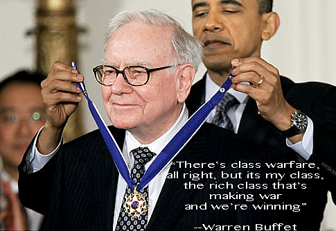 WASHINGTON, DC - FEBRUARY 15:  Investor Warren Buffett (L) is presented with the 2010 Medal of Freedom by U.S. President Barack Obama during an East Room event at the White House February 15, 2011 in Washington, DC. Obama presented the medal, the highest honor awarded to civilians, Apparently for sharing the same interest in abortions.