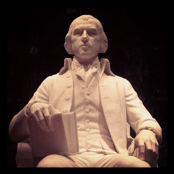 Statue of President James Madison located at the Library of Congress James Madison Memorial Building.