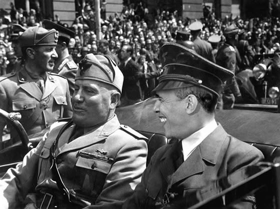Rothschild's Fascist Mussolini & Rothschild's National Fascist Barry Soetoro.