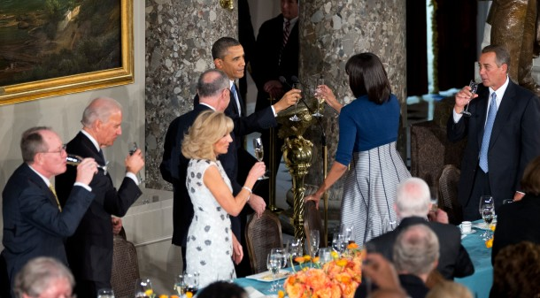 President Barack Obama, makes a toast with his wife first lady Michelle Obama, during a luncheon after his ceremonial swearing-in on Capitol Hill in Washington, Monday, Jan. 21, 2013. Others are, from left, Sen. Lamar Alexander, R-Tenn., Vice President Joe Biden, Jill Biden, Chairman of the Joint Congressional Committee on Inaugural Ceremonies, Sen. Charles Schumer, D-N.Y., and Speaker of the House John Boehner, R-Ohio.  (AP Photo/Manuel Balce Ceneta)