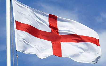 St. George's Cross has been recognized as the flag of England since the time of the Crusades. It became the official flag of England and Wales in 1277 and can still be seen today hanging in windows of English nationalists or being waved at sporting events. This is the flag that fluttered over Jamestown, Plymouth, and other early English settlements in America.