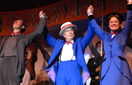 Mayor Poppins ~ Gavin Lee, Mayor Michael Bloomberg and Ashley Brown. In Broadway Musical Mary Poppins.