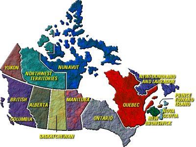 canada provinces map
