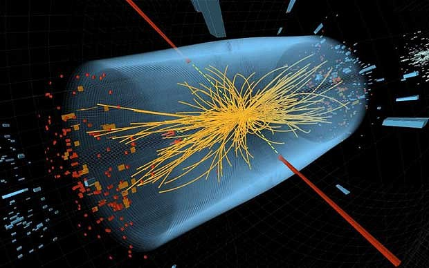 A graphic showing traces of two high-energy photons measured at Cern.