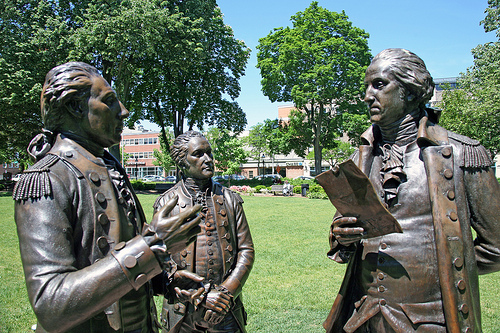 Statue of the Marquis de Lafayette informing General George Washington and Colonel Alexander Hamilton that the French will support the Americans.