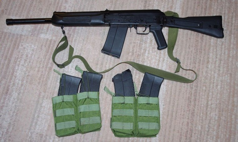 The totally-legal Russian-made Saiga fully-automatic shotgun takes a 10 round magazine and can inflict plenty of damage.