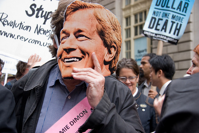 Jamie Dimon Mask At Bailout Protest About Using Taxpayer's Money.