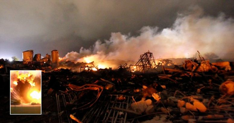 The remains of a fertilizer plant burn after an explosion at the plant in the town of West, near Waco, Texas early April 18, 2013. The deadly explosion ripped through the fertilizer plant late on Wednesday, injuring more than 100 people, leveling dozens of homes and damaging other buildings including a school and nursing home, authorities said.  REUTERS/Mike Stone   (UNITED STATES - Tags: DISASTER ENVIRONMENT AGRICULTURE)