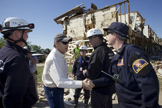 BILDERBERGER -> Gov. Rick Perry toured the disaster zone and met with local officials and state and local emergency responders Saturday.  Reuters ~ A ROTHSCHILD OWNED COMPANY