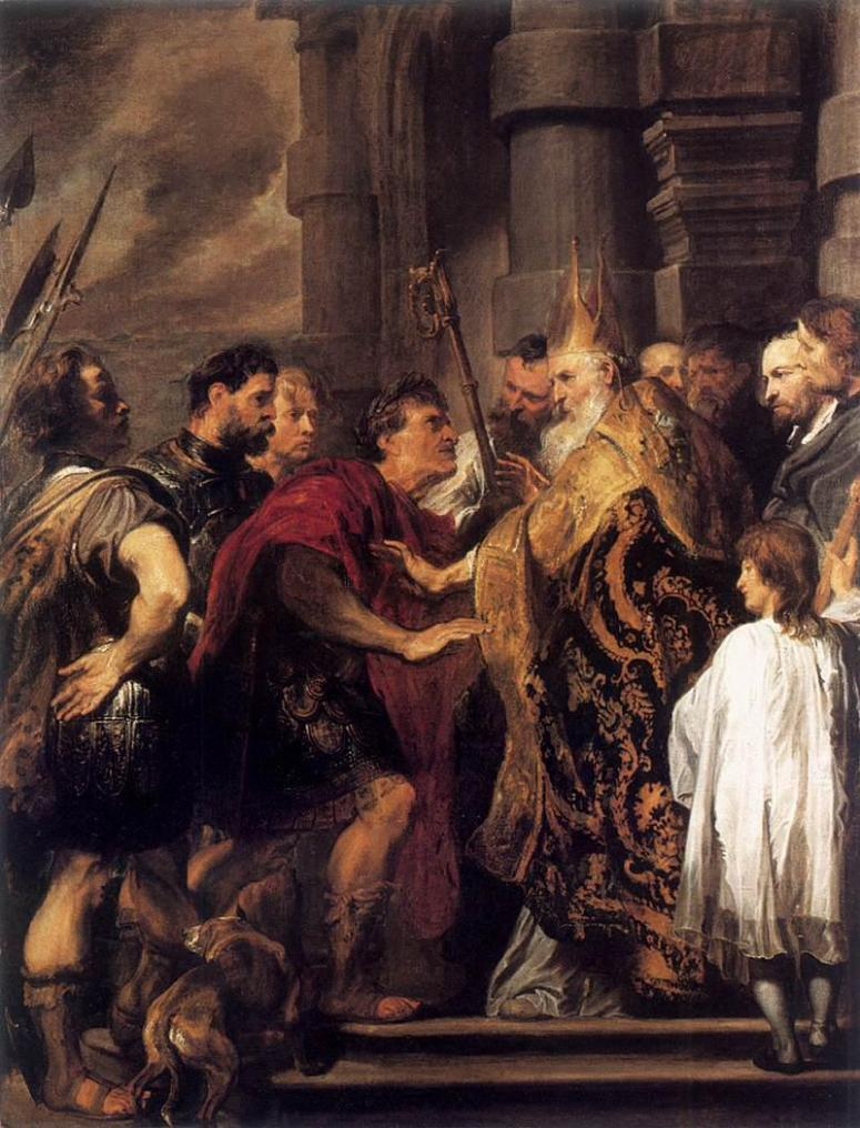 """Aurelius Ambrosius (340-397 AD), or as he is known to us, St. Ambrose of Milan, was born of an influential Roman family. His father was prefect of Gaul and had paid for his son to attend to legel studies after his death, in the hopes of his becoming an outstanding political power in his day. Around A.D. 370, Ambrose was made governor of Liguria and Aemilia by the praetorian prefect Probus, who, before confirming him into his office, is said to have advised him to """"go and act, not as a judge, but as a bishop."""" Ambrose pondered these words closely. Though bearing the rank of consular, Ambrose came to find that his influence laid not in the powers of his rhetoric, but in the kind and gentle character of his nature. Those around him viewed him as a father more than as a ruler, and his benevolence was well known to all under her jurisdiction."""