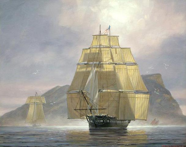 Catching a Zephyr USS Constitution Off Gibraltar 1804 by Patrick O'Brien